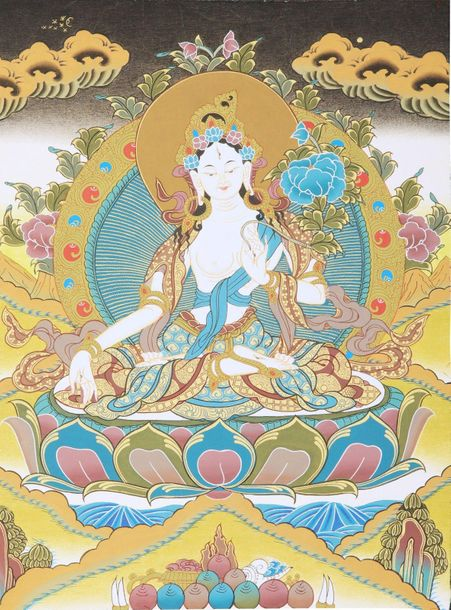 Tibetan Buddhist Saviour Goddess White Tara White Tara, the saviour goddess aros…