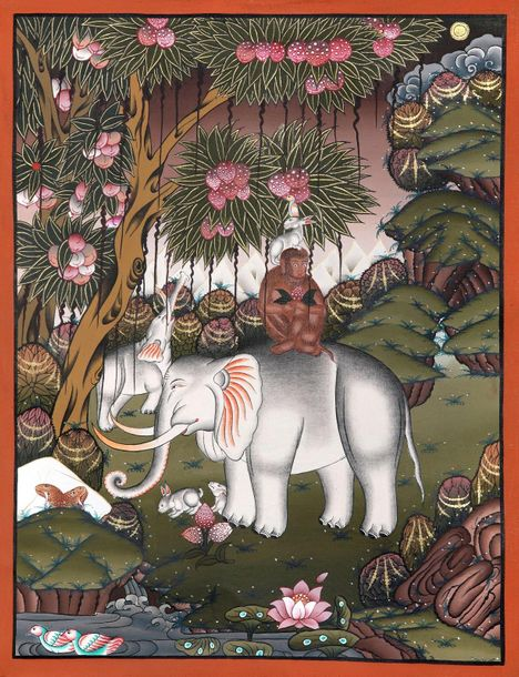 The Banyan Tree And The Four Harmonious Brothers (Brocadeless Thangka) The four …