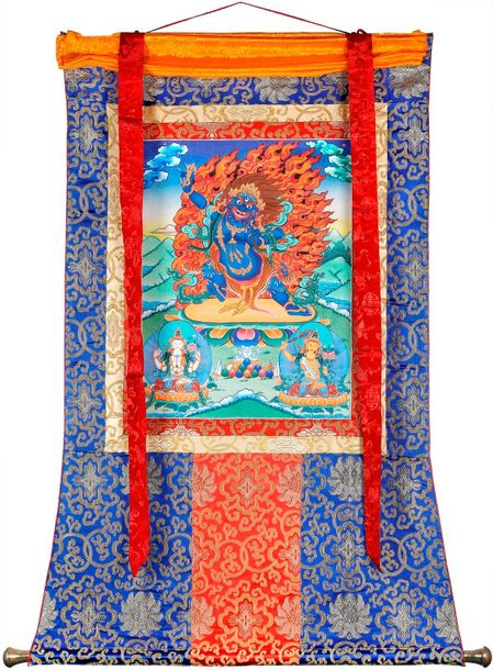 Tibetan Buddhist Two Armed Wrathful Mahakala Specifications:  Tibetan Thangka Pa…