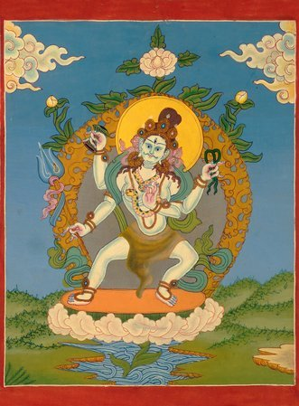 Heavenly Shivatandava (Tibetan Buddhist Thangka, Brocadeless) The art of Nepal i…