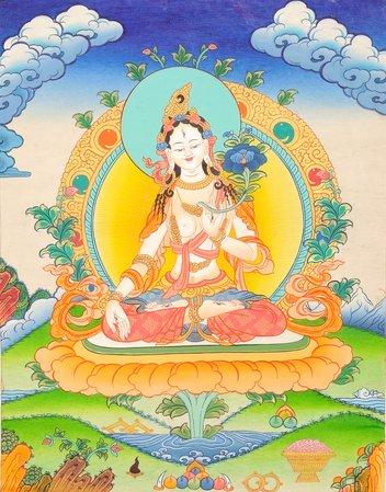 Tibetan Buddhist Goddess White Tara Tara or Jetsun Dölma in Tibetan is known as …