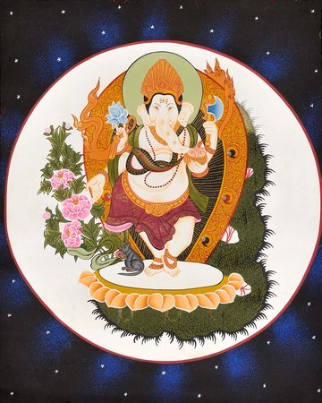 Ganesha Dancing Against Moon Ganesha is the god of new beginnings. He is also kn…