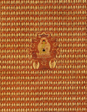 Thousand Buddhas Wall with (Tibetan Buddhist) Shakyamuni in the Centre Seated on…