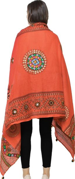 Printed Dupatta from Kutch with Hand Embroidered Florals and Mirrors Blue Jewel …