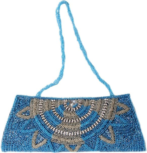 Traditional Glam Clutch Coated With Azure And Silver Sequins For when you feel l…