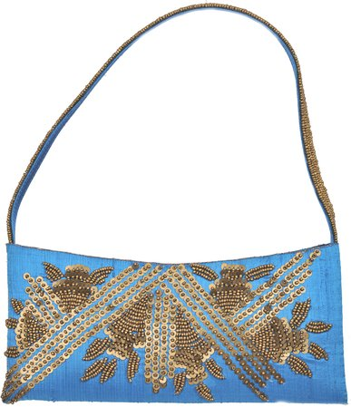 Turquoise Blue Purse with Golden Sequins and Bead Work Bags are every woman's ne…