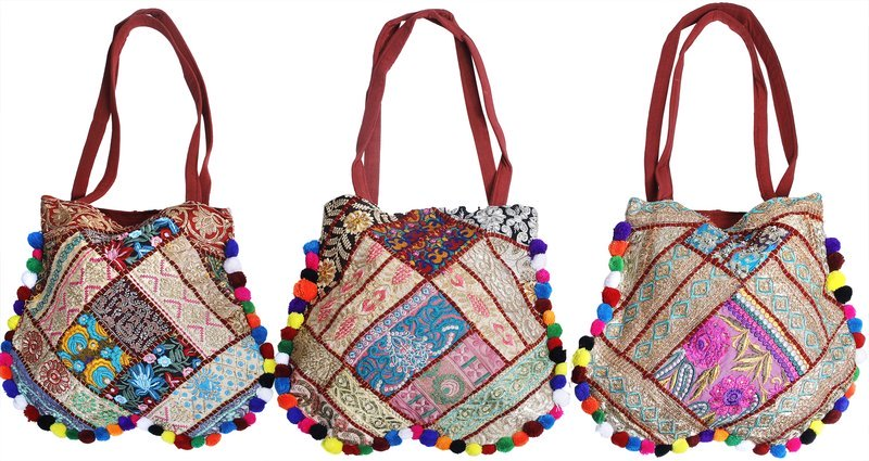 Lot of Three Shopper Bags from Kutch with Floral Embroidery and Embellished Crys…