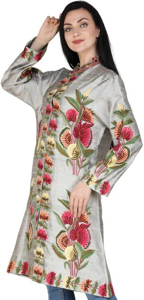 Frost Gray Long Kashmiri Jacket with Hand Embroidered Multicolor Flowers Specifi…