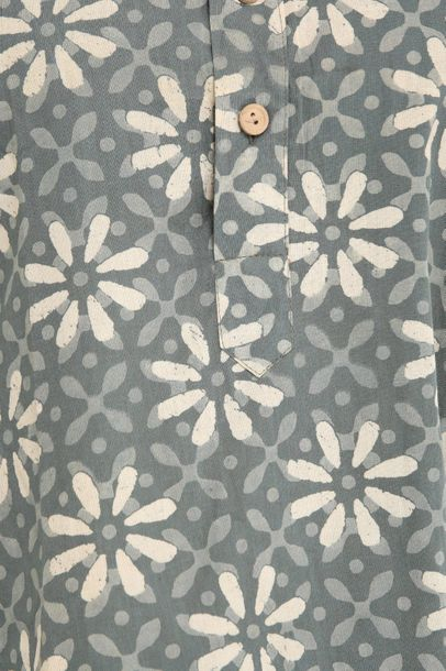 Sea Spray Summer Tunic Shirt with Block Printed Florals All Over Nothing like an…