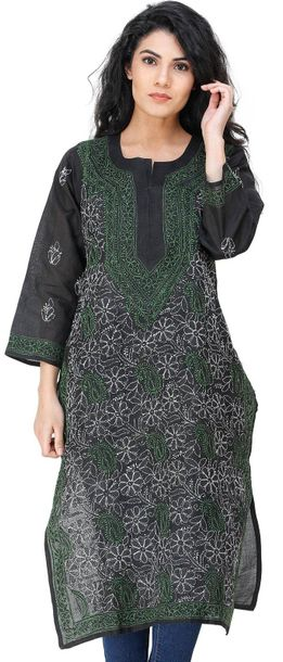 Jet Black Lukhnavi Chikan Kurti with Embroidered Flowers and Paisleys All Over S…