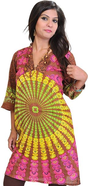 Long Kurti from Pilkhuwa with Printed Chakras Specifications:  Cotton    Length …