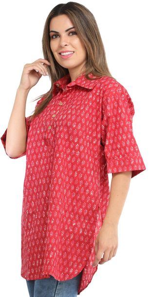Summer Tunic Shirt with Block Printed Motifs All Over The soft, soothing cotton …