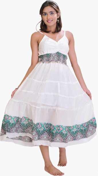 Winter White Barbie Dress with Printed Border Specifications:  Pure Cotton  Free…