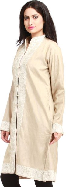 Bleached Sand Long Jacket from Kashmir with Ari Embroidered Paisleys on Border S…