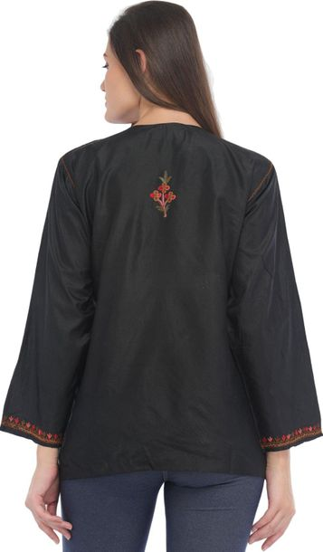 Caviar Black Ari Short Kurti from Kashmir with Embroidery by Hand Specifications…