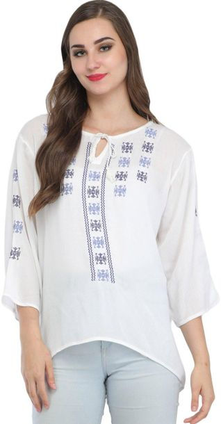 Bright white Short Kurti with Embroidery and Dori on Neck Specifications:  Pure …