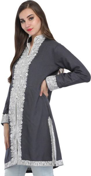 Jacket from Kashmir with Ari Embroidery on Border This long, flowing jacket from…