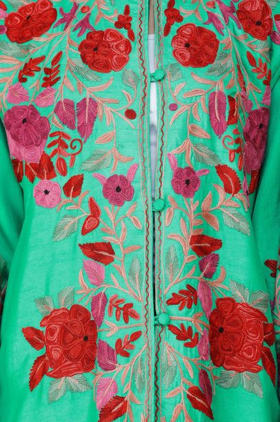 Mint Leaf Green Long Kashmiri Jacket with Embroidered Flowers in Multicolor Thre…