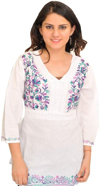 Bright White Kurti With Ari Embroidery Specifications:  Pure Cotton    Length 27…