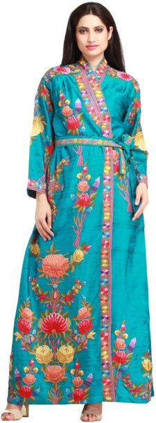 Algiers Blue Robe from Kashmir with Ari Floral Embroidery by Hand This long, flo…