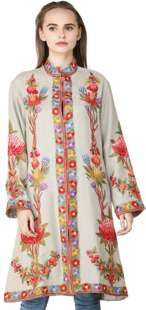 Pussywillow Gray Long Jacket from Srinagar with Ari Embroidered Multicolor Flowe…