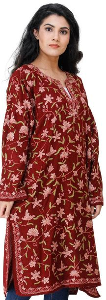 Phiran from Kashmir with Ari Hand Embroidered Multicolor Flowers All Over Kashmi…