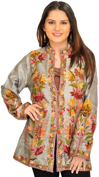 Silver Jacket from Kashmir with Ari Floral Embroidery Few colour combinations ar…