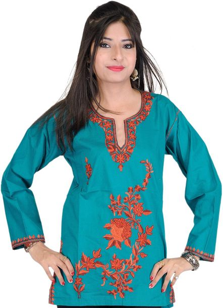 Teal Green Kurti from Kashmir with Ari Embroidered Flowers by Hand Specification…