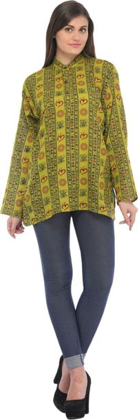 Sanatan Dharma Kurti Top with Printed Religious Motifs Specifications:  Pure Cot…