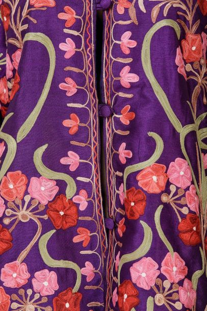 Short Kashmiri Jacket with Ari Embroidered Multicolor Flowers Specifications:  A…