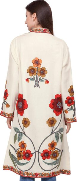 Cream Long Jacket from Kashmir with Hand Embroidered Giant Flowers A statement j…