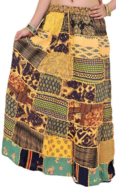 Long Printed Dori Skirt from Gujarat with Patch Work Specifications:  Rayon  Ela…