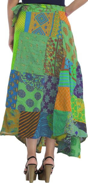 Wrap Around Long Skirt with Printed Patch work This neon skirt is a classic stat…