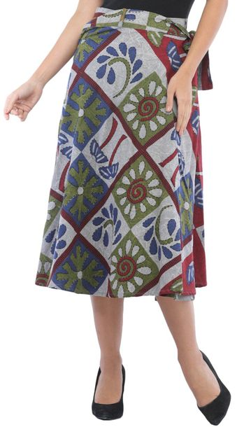 Wrap Around Casual Stone washed Midi Skirt with Printed Palm Trees Stone washing…