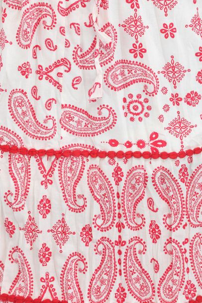 White and Red Long Skirt with Printed Paisleys Plush red paisleys on a simple wh…
