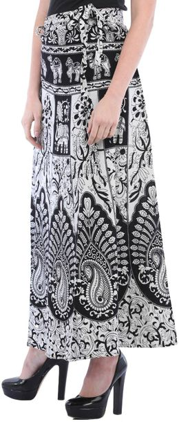 Black and White Wrap Around Long Skirt from Pilkhuwa with Printed Paisleys and A…