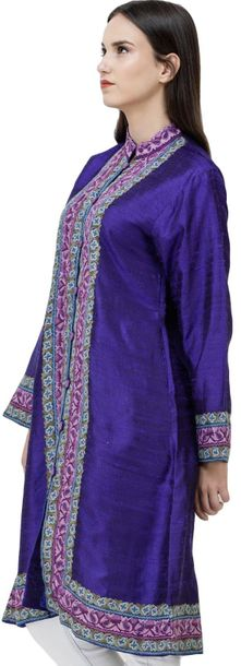 Clematis Blue Kashmiri Long Jacket with Hand Embroidered Flowers Kashmiri textil…
