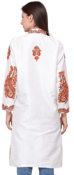Bright White Long Jacket from Amritsar with Ari Embroidered Paisleys Specificati…