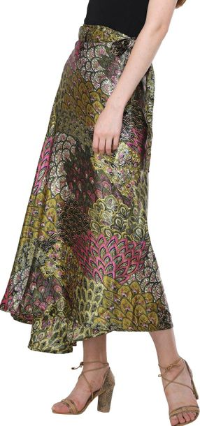 Wrap Around Long Skirt with Printed Flowers A semi formal fashion, in wearing th…