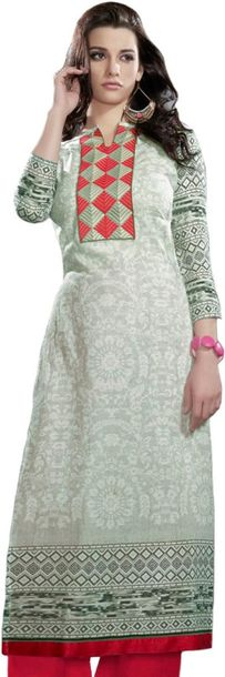 Digital Printed Long Kurti with Embroidered Patch on Neck Specifications:  Pure …