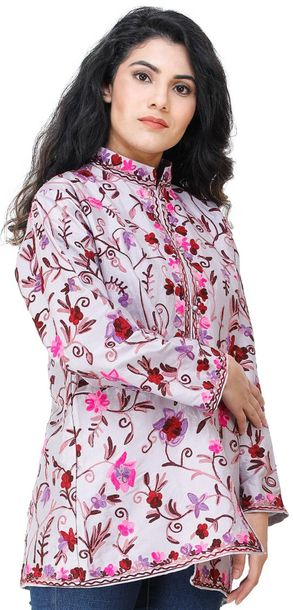 Orchid Hush Short Jacket from Kashmir with Embroidered Flowers All Over Specific…