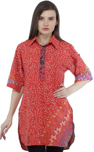 Paprika Summer Tunic Pilkhuwa Shirt with Block Printed Motifs All Over Specifica…