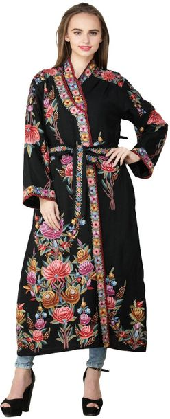 Licorine Black Kashmiri Robe with Ari Embroidered Florals and Motifs by Hand Spe…