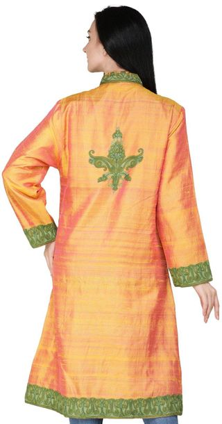 Dark Cheddar Long Jacket from Kashmir with Ari Embroidered Paiselys in Green Thr…