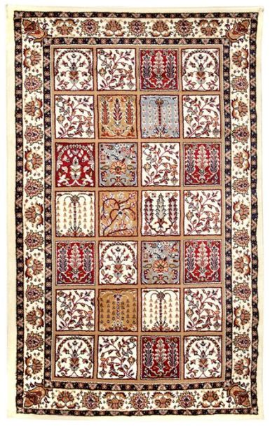 Winter White Handloom Carpet From Bhadohi with Knotted Persian Motifs Flooring i…
