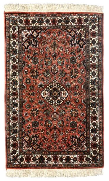 Coral Reef Handloom Carpet from Kashmir with Knotted Flowers The beauty and turb…