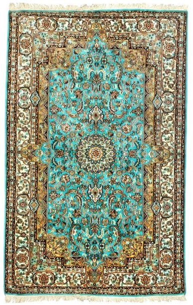 Blue Mist Handloom Carpet from Kashmir with Knotted Flowers Kashmir is a very im…