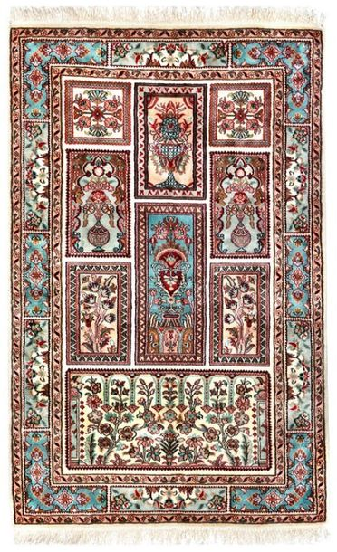 Almond Cream Handloom Carpet from Kashmir with Knotted Flowers All Over Nothing …