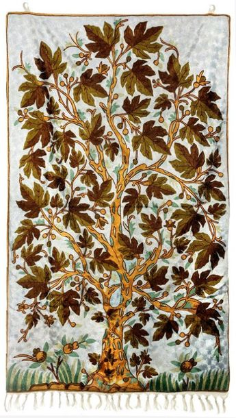 Old Lace Wall Hanging cum Carpet with Ari Embroidered Maple Tree in Multicolor T…