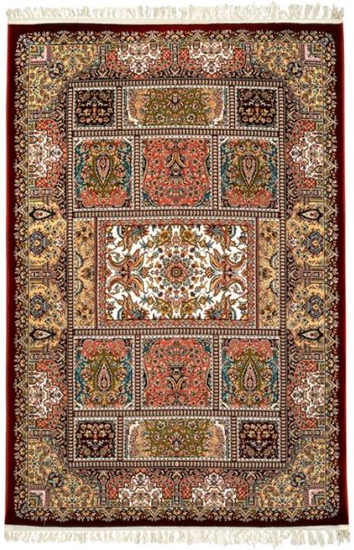 Deep Claret Handloom Carpet from Bhadohi with Knotted Persian Design Bhadohi, an…
